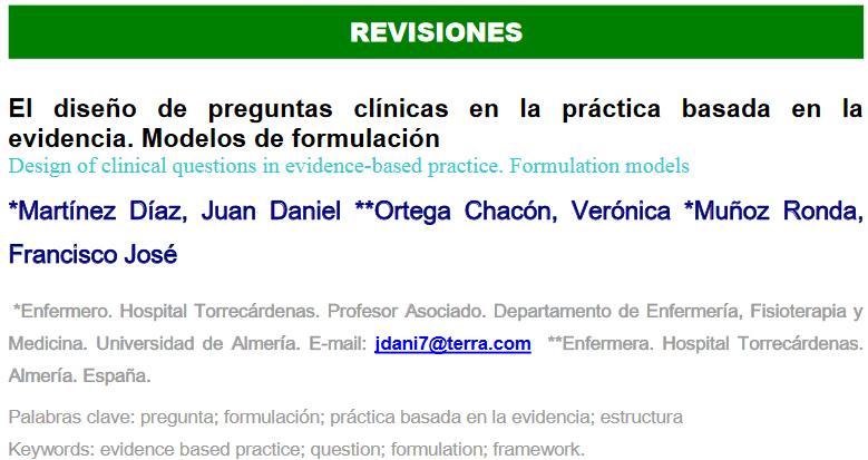 El diseño de preguntas clínicas en la práctica basada en la evidencia